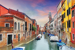 Venice landmark, canal, colorful houses and boats, Italy Royalty Free Stock Photography