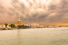 Venice landmark, view from sea of Piazza San Marco. Italy. Stock Photo