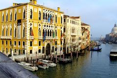 Venice. Landscape with buildings in the lagoon of Venice. Boats in the channel of Venice. Outdoor museum royalty free stock images