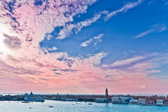 Venice landscape with campanile. And a lot of sky stock image