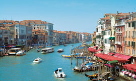 Venice landscape. Venice canal mood , boats , restaurants royalty free stock images
