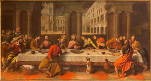 Venice - Last supper of Christ by Conegliano. VENICE, ITALY - MARCH 13, 2014: Last supper of Christ (Ultima Cena) by Cesare Conegliano (1583) in church Chiesa Royalty Free Stock Photography