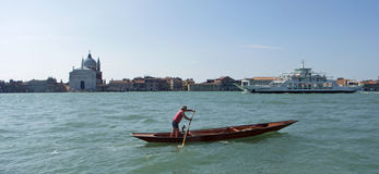 Venice Lido Ferry Passing Guidecca Royalty Free Stock Images