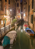 Venice - Look to Cale Lavezzera canla at night Royalty Free Stock Photo