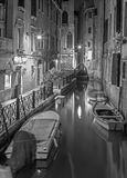 Venice - Look to Cale Lavezzera canla at night Stock Images