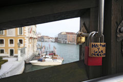 Venice love padlocks Stock Photos