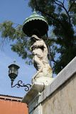 Venice, statue with canopy and lamp post stock image