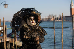 Venice Mask. Masked person at the Venice Carnival 2014 Royalty Free Stock Photo