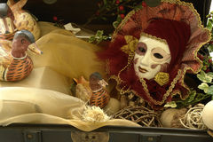 Venice mask. A Venice mask in a decorated box royalty free stock images
