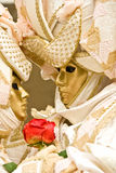 Venice Mask, Carnival. Two golden mask in Venice, Italy
