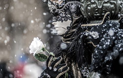 Venice mask and snow Royalty Free Stock Image