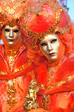 Venice Masks, Carnival. Orange carnival masks in Venice, Italy