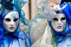 Venice Masks, Carnival. Two beautiful blue masks in Venice Carnival, Italy