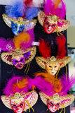 Venice Masks. Colorful Venice masks figures with feathers  for souvenir Royalty Free Stock Image