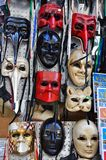 Venice masks in an Italian market  Royalty Free Stock Photos