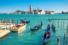 Gondolas float near San Marco Square in Venice, Italy Royalty Free Stock Photo