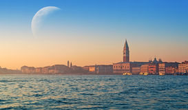 Venice with moon Royalty Free Stock Photos