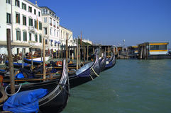 Gondolas waiting for tourists Stock Photos