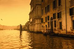 Venice morning sepia. Foggy morning on the Grand Canal in Venice. Sepia style Stock Photography