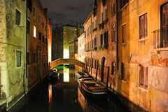 Venice mystery. Venetian canal desert at night Royalty Free Stock Photography