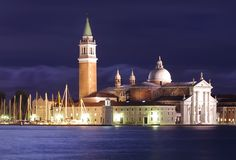 Venice at night. Night view of San Giorgio Maggiore in Venice Royalty Free Stock Photography