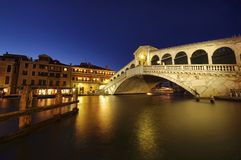Venice at night. Rialto bridge at night, Venice, Italy Stock Photos