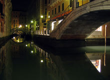 Venice by night. Venice canals and bridge at night royalty free stock photos