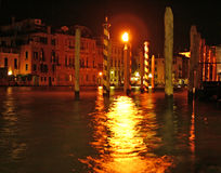 Venice at night. Light reflection on the Grand Canal in Venice Royalty Free Stock Photography