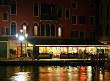 Venice night. Night life on the Grand Canal in Venice Royalty Free Stock Photos