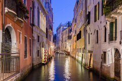 Venice by night. Canal in Venice by night, Italy Stock Image