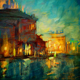 Venice night channel, painting by oil on canvas, illustration Stock Photos