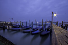 Venice Night Gondolas royalty free stock images