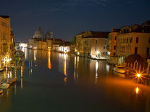 Venice at night grand channel photo. Stock Photos
