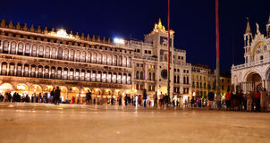 Venice night landscape. View from Venice Italy. Tourists in San Marco plaza stock images