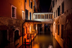 Venice at night - night scene of residential houses on water canal Royalty Free Stock Photography