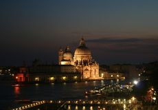Venice at night panorama. A romantic Venice at night shot stock image