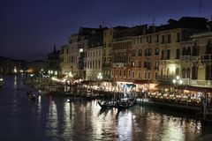 Venice - a night scene from the Rialto bridge Royalty Free Stock Image