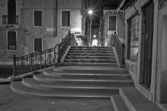 Venice at night street photo monochrome Royalty Free Stock Photos