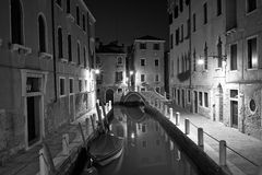 Venice at night street photo monochrome Royalty Free Stock Images