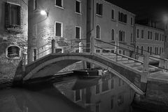 Venice at night street photo monochrome Stock Photos
