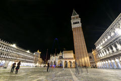 Venice at night. Night view with people of Piazza San Marco in Venice, Italy stock photos