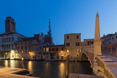 Venice / Night view of the river canale and traditional venetian architecture. Venezia / Night view of the river canale and traditional venetian architecture stock images