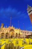Venice nights (San Marco piazza at dusk) stock image