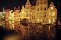 Venice of the north. Old city of ghent (antique facades overlooking the historic canal Stock Photo