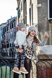 Happy mother and child travellers in Venice, Italy sightseeing Royalty Free Stock Photo