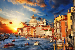 Venice On Sunset Royalty Free Stock Photo
