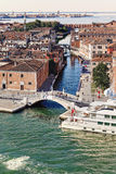 Venice. One of the most famous bridge of Venice seen from the top of a cruise ship royalty free stock photo