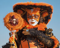 Venice - orange mask in carnival Royalty Free Stock Photography