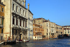 Venice palaces and houses during high tide Royalty Free Stock Photos