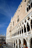 Venice - Palazzo Ducale. The Doge's Palace was established in the 9th century. A cracking piece of Gothic architecture with white Istrian stone and pink Veronese Stock Image